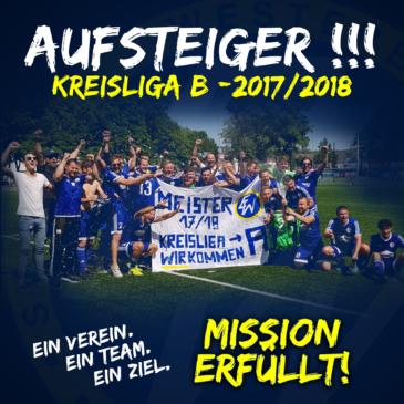 +++ AUFSTEIGER!!! +++ Kreisliga A – WIR kommen!!